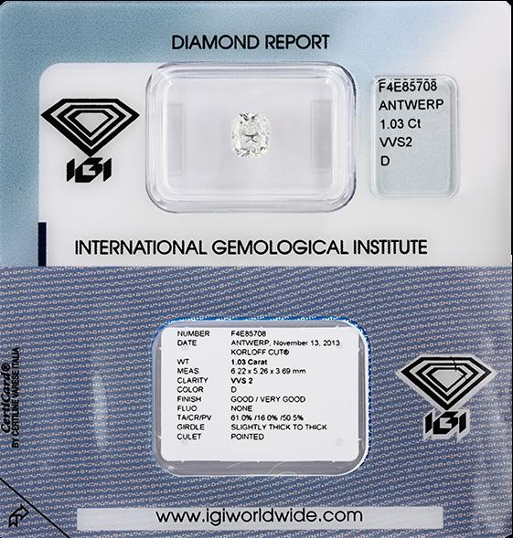 VeraCash diamond certified IGI
