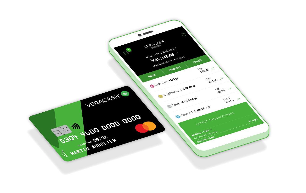 VeraCash app and payment card