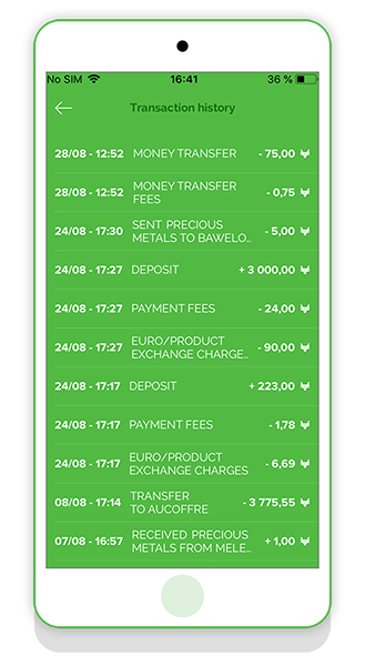 Transaction history on VeraCash app